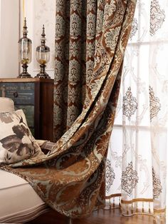 Baltic Jacquard Blue Coffee Brown color Floral Waterfall and Swag Valance and Sheers and Chenille Velvet Curtains Pair. one pair velvet curtains and one pair sheers and one panel velvet valance. Coffee Brown Color, Coffee Colour, Velvet Curtains, Drapes Curtains, Custom Curtains, Living Room, Luxury, Waterfall, Swag