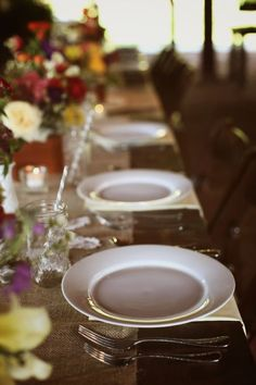 rustic wedding decor - napkin under plate instead of chargers