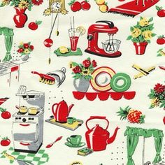 Michael Miller Retro Fifties Kitchen fabric- 1 yard. $9.25, via Etsy.