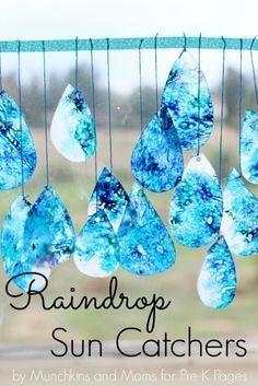 raindrop suncatchers fine motor for preschool.  Need blue crayons, crayon sharpener, waxed paper and an iron