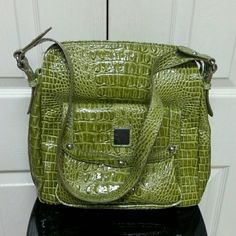 Purse Crocodile Green Purse/11 inches Length, 13 inches wide Bags Shoulder Bags