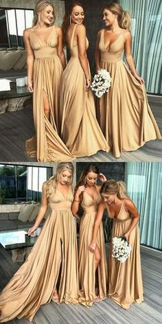 A-Line Deep V-Neck Backless Long Champagne Bridesmaid Dress, Shop plus-sized prom dresses for curvy figures and plus-size party dresses. Ball gowns for prom in plus sizes and short plus-sized prom dresses for Different Bridesmaid Dresses, Winter Bridesmaid Dresses, Winter Bridesmaids, Champagne Bridesmaid Dresses, Wedding Party Dresses, Champagne Dress, Tulle Wedding, Dress Party, Gold Wedding