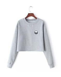 Gray Alien Print Crop Sweatshirt