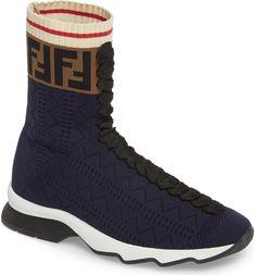 6265000b9b Fendi Rockoko Logo Sock Sneaker (Women) at Nordstrom.com. A woven