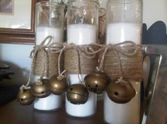 DIY bell candles: candle, rope, spray paint, hot glue, bells