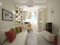 Эта комната разделена небольшой перегородкой на примыкающий к балкону мини-кабинет и зону отдыха.
