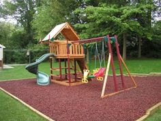 Kids friendly backyard landscape ideas with wooden kids playground