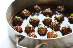Teriyaki Meatballs - Juicy, tender meatballs tossed in a super easy, homemade sweet teriyaki sauce!