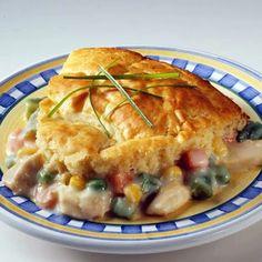 Bisquick Chicken Pot Pie except make filling instead of using canned cream of chicken