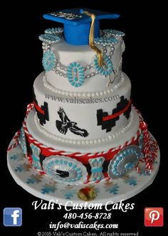 Beautiful Navajo theme graduation cake. Our cluster necklace & concho signature design with school mascot. Reminder, May's graduation cakes start booking in January, don't be late!!
