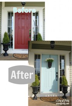 "How I painted my front door in under an hour: ""The Harried Mom's Guide to Painting a Front Door"" Turquoise Front Door - Before & After"