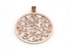 Schmuckanhänger - Edelstahl Anhänger Ornament rund Kristall Roségold - ein Designerstück von PERLINERIA bei DaWanda