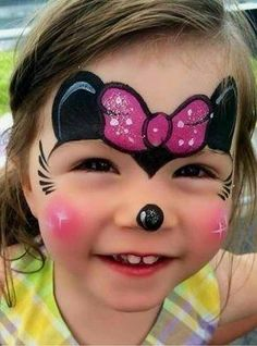 Simple face painting designs are not hard. Many people think that in order to have a great face painting creation, they have to use complex designs, rather then Minnie Mouse Face Painting, Disney Face Painting, Girl Face Painting, Painting For Kids, Body Painting, Mini Mouse Face Paint, Simple Face Painting, Face Paintings, Easy Face Painting Designs