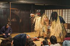 """""""Shinzan Denshokan"""" Standing next to the Namahage building is Oga Shinzan Denshokan where you can experience raw Namahage. """"Is there anyone crying? Are there any lazy ones here?"""" speak the Namahage, as they circle the floor."""