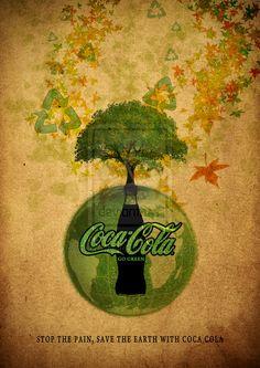 Campaña de publicidad de coca-cola invitando a reciclar, Elementos orgánicos y colores tierra/verde aludiendo a la naturaleza, uso de elementos característico del reciclaje y elementos orgánicos en el fondo.