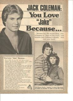 Jack Coleman, Days of Our Lives, Full Page Vintage Clipping