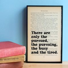 the pursued, the pursuing, the busy and the tired. (The Great Gatsby)