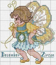 Toddler Birthstone Fairy December Zircon Free Cross Stitch Pattern 3/5