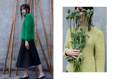 Anna Dudzińska, CONCRETE GREEN, aw2015, sweater DERY (green & yellow), skirt KIMIT. To download high or low resolution product images view Mondrianista.com (editorial use only).