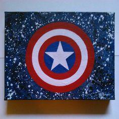 Captain America - original painting - newspaper and acrylic - £15.00 - by Sarah Rennie - https://www.etsy.com/uk/shop/RainbowFayArt