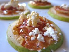 Pear, prosciutto, goat cheese, and honey appetizer