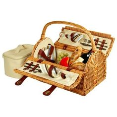 picnic. Jazz Age Lawn Party.  Sussex Picnic Basket for 2, Willow Wood
