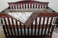 Brown Cowboy, Brown Minky, and Village Blue Chevron Crib Bedding Ensemble by DesignsbyChristyS on Etsy