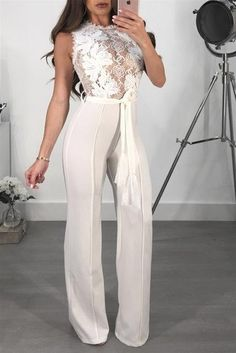 3216c425245b Womens Lace Patchwork Sexy O Neck Sleeveless Jumpsuit
