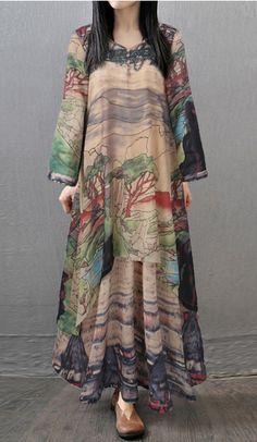b6bcaad58 Vintage Print Layered V-neck Long Sleeve Maxi Dress. What others are  saying. غراسيلا خمر المطبوعة الطبقات الخامس عنق طويل الأكمام المرأة فساتين  ...