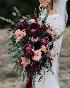 fall dark purple and coral wedding bouquet Forget the bouquet toss! You won't want to let go of these these beautiful fall wedding bouquets, let alone chuck one across the reception hall. Fall Wedding Bouquets, Fall Wedding Flowers, Floral Wedding, Cascading Bridal Bouquets, Fall Wedding Purple, Bridal Bouquet Fall, Wedding Bouquet Pearls, Halloween Wedding Flowers, August Wedding Colors
