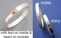 PLEASE LET ME KNOW IN THE NOTES TO SELLER WHAT YOU WANT STAMPED ON YOUR RING!  Send a message that will be only seen by the wearer. This ring is a sweet way to say a special sentiment. Each ring is solid sterling silver & is sized to your preference & stamped with your custom message. Using a tiny special uppercase font, this thin, just over 2mm wide ring is handstamped with each letter. If you have a long message, please contact me first to make sure it will fit. From experience I kn...