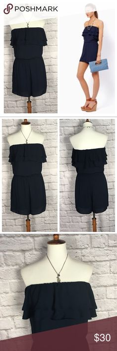 """💥Charming Charlie blue strapless shorts romper Charming Charlie 'Rockport Harbor' strapless romper •Pretty dark navy blue color •Ruffles around the collar •Elastic around the waist •Super cute!   •No visible wear- excellent condition! •Size Med •Length: 28"""" •Measurements are approximate   👗 Check out more rompers in my closet 👗                            ⚜️ same/next day ship ⚜️ 🐲 smoke free 🐲  I do not discuss price in the comments #6 Charming Charlie Shorts"""