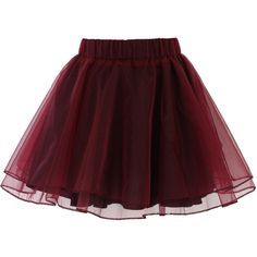 Chicwish Organza Tulle Skirt in Wine ($34) ❤ liked on Polyvore featuring skirts, mini skirts, bottoms, faldas, saias, red, red tulle skirt, brown tutu, tulle tutu and red mini skirt