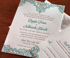 An intricate motif adorns the top and bottom of our letterpress Dayita design, but feel free to change up your invitation layout to make it truly your own.