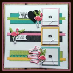 Tickled Pink Chris Lothian scrapbook layout by Jennifer Smith CTMH Calypso Scrapbook Templates, Scrapbook Page Layouts, Scrapbook Paper Crafts, Scrapbook Pages, Scrapbook Borders, Scrapbook Embellishments, Disney Scrapbook, Photo Layouts, Scrapbook Sketches