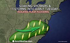 A swath of slow-moving showers and thunderstorms will gradually push into the mid-Atlantic