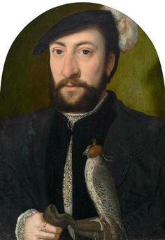 Circle of Ambrosius Benson (Lombardy circa 1495 - 1550 Bruges), Portrait of a nobleman with falcon