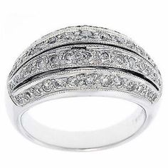 0.90 Cttw Round Cut Diamonds Cocktail Ring in 14K White Gold by…
