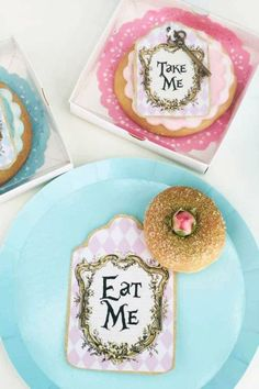 Don't miss this beautiful Alice in Wonderland birthday party! The cookies are stunning!  See more party ideas and share yours at CatchMyParty.com   #catchmyparty #partyideas #aliceinwonderland  #cookies #aliceinwonderlandparty #disneyparty
