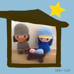 kerstfiguren gehaakt door Nicole patroon van Juffrouw Hutsekluts