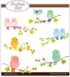 Spring Clip Art | Clip art. birds, birds and flowers spring , instant download clip art