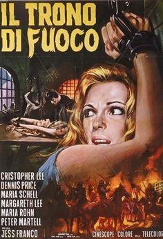 "The Bloody Judge (1970) Il trono di fuoco (original title) Stars: Christopher Lee, Maria Schell, Leo Genn, Maria Rohm ~ Director: Jesús Franco  (aka ""Night of the Blood Monster"") (Italian Poster)"