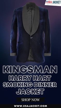 We introduce you the smoking style of Colin Firth as Harrry Hart by wearing the Kingsman The Secret Service Dinner Jacket in blue velvet material. Kingsman Harry, Kingsman The Secret Service, Dinner Jacket, Thanksgiving Sale, Colin Firth, Velvet Material, Blue Velvet, Blazer Jacket, Smoke