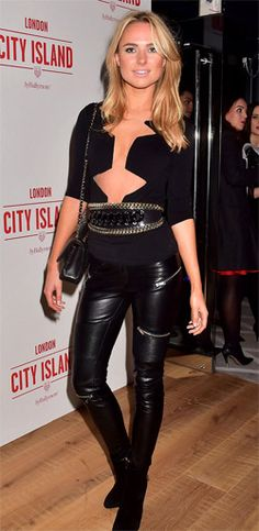 Kimberley Garner stuns in plunging top and skintight leather trousers  Kimberley Garner looked hot and stunning in plunging top and skintight leather trousers. She's not exactly known for her demure sense of style, and never fails to flash the flesh in   a series of racy ensembles. And Kimberley Garner picked one of her most daring outfits to date as she attended the Ballymore launch party. Check her out  at:http://www.womenfitness.net/news/other/kimberleyGarner_trousers.htm