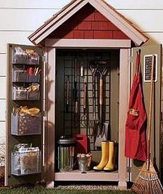Storage shed organization ideas tool shed organization storage shed for garden shed shed plans style kits . storage shed organization Garden Storage Shed, Diy Shed, Small Garden Tool Shed, Diy Storage Shed Plans, Workshop Storage, Workshop Ideas, The Family Handyman, Shed Organization, Organizing