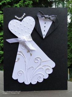 Wedding dress and tux using punched out hearts