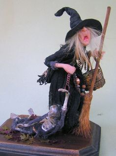 """Miniature Halloween witch """"Aunt Elizbet and Uncle Bob""""  by Joyce McBride"""