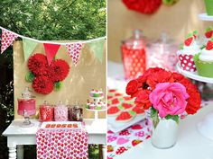 festa infantil tema morango decorada em tons de rosa, verde e vermelho.