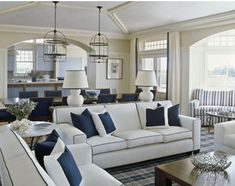 41 Amazing Navy Blue and White Living Room 91 Coastal Home Furniture Navy Blue and White Living Room Decor Navy Blue and White Bedroom 1 Blue And White Living Room, Navy Living Rooms, Coastal Living Rooms, Home Living Room, Living Room Designs, Living Room Decor, Living Spaces, Coastal Cottage, Living Area