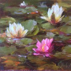 """Water Lilies by Stephanie Birdsall Oil ~ 8"""" x 10"""""""